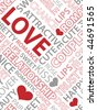 Seamless pattern made from words which relate with word love - stock photo