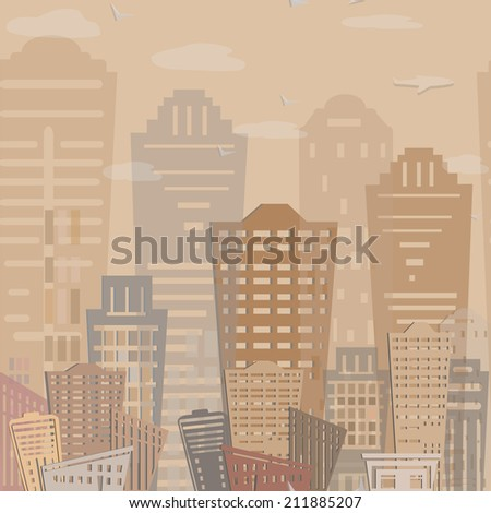 Seamless pattern Modern real estate buildings design. Urban landscape. Vector texture
