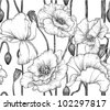 seamless pattern of black and white poppies - stock vector