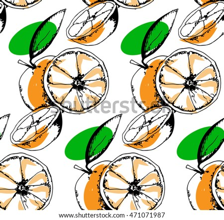 seamless pattern of citrus  in the style of hand drawn