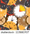 Seamless pattern of different clocks - stock vector