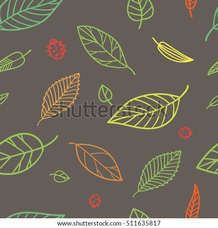 Seamless pattern of falling color leaves with red ladybugs on the brown background. Vector illustration.
