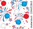seamless pattern of fireworks and balloons - stock vector