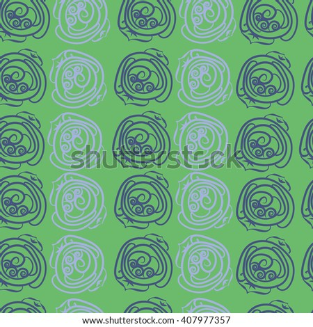 Seamless pattern of floral motif, doodles, stylized rosy, leaves, spirals. Hand drawn.