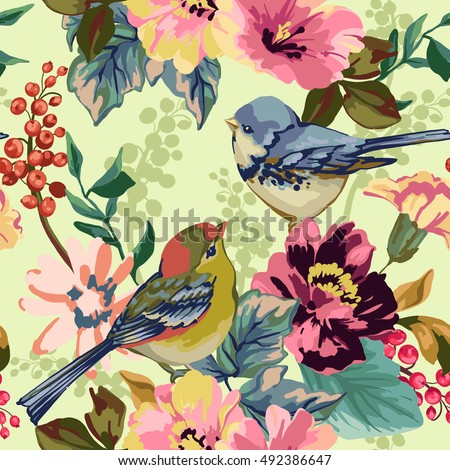 Seamless pattern of flower, berries and birds on light background.