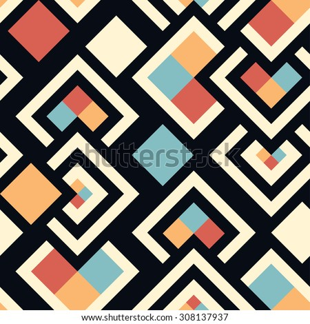 Seamless pattern of geometric shapes. Squares, rhombuses. Geometric background.