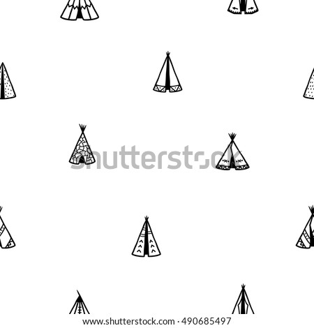 Seamless pattern of indian tee-pee or wigwams. Hand drawn tribal illustration.