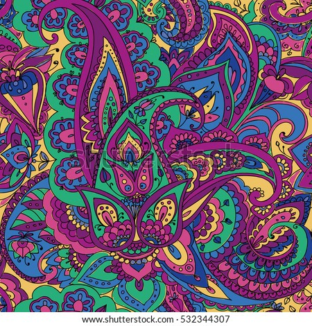 "Seamless pattern of ""Paisley"" based on traditional oriental patterns. Hand drawing. Vintage style. Purple, green, blue"