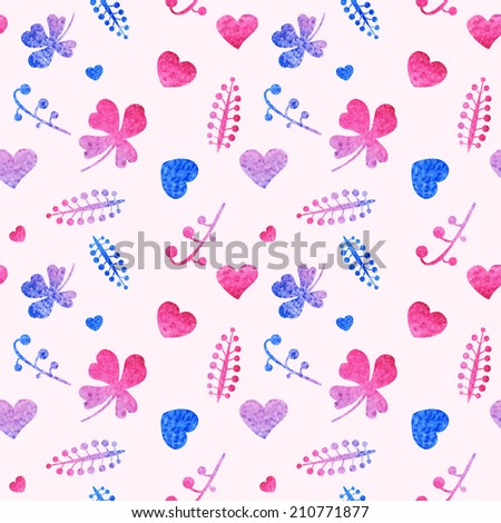 Seamless pattern of pink, blue hearts and floral elements. Beautiful and cute background. Watercolor texture.