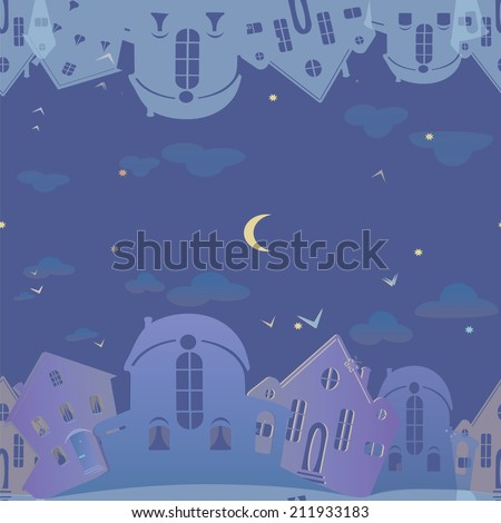 Seamless pattern of real estate. Blue background with houses. Night sky city. Vector illustration