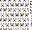 Seamless pattern of retro mustache & spectacle frame - stock vector