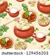 Seamless pattern of Ukrainian traditional red borscht with sour cream and dumplings - stock vector