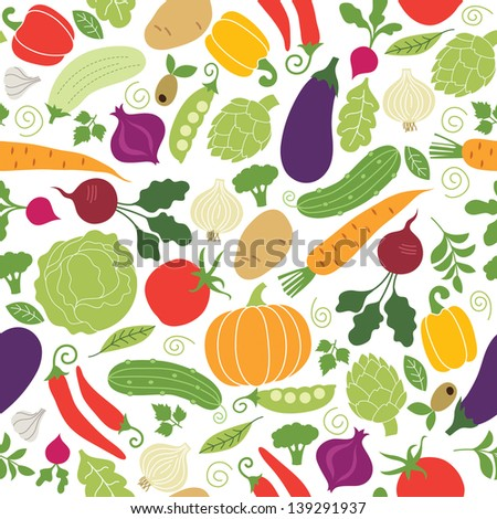 stock vector seamless pattern on a white background vegetables illustrations 139291937 - Каталог — Фотообои «Еда, фрукты, для кухни»