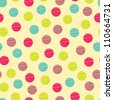 Seamless pattern, polka dot fabric, wallpaper, vector - stock vector