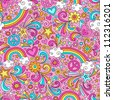 Seamless Pattern Psychedelic Rainbows Groovy Peace Notebook Doodle Design- Hand-Drawn Vector Illustration Background - stock vector