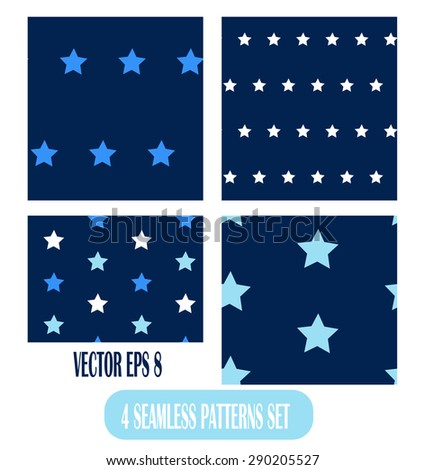 Seamless pattern stars of blue shades on sky.  Vector illustration texture for print, textile design, fabric, home decor, wallpaper