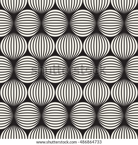 Seamless pattern. Stylish texture with vertical striped circles. Vector repeating background