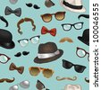 Seamless pattern - vintage style accessories(sunglasses/eyeglasses/fedora hats/mustaches/bow ties) on blue background - vector illustration. - stock vector