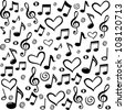 seamless pattern wallpaper of musical notes. Vector Illustration - stock photo