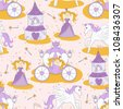 Seamless pattern with a princess , magic wand, little pony, carriage and princess castle - stock vector
