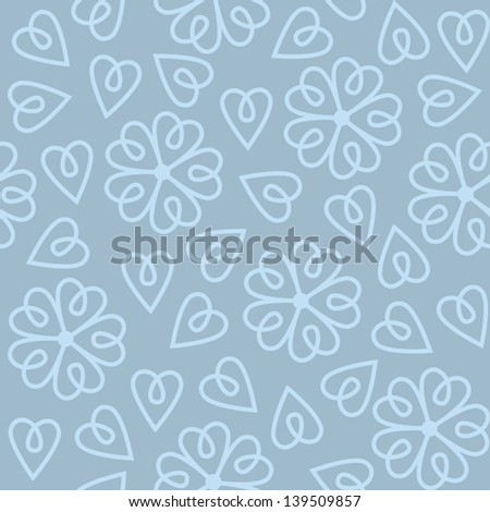 Seamless pattern with abstract blue flowers in vector