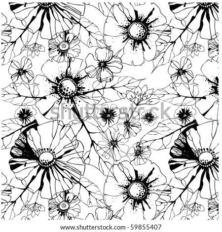 seamless pattern with black and white poppy