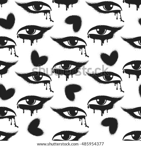 Seamless pattern with black grunge hearts and tearful eyes. Vector illustration