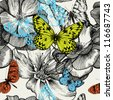 Seamless pattern with blooming roses and flying butterflies, hand drawing. Vector illustration. - stock