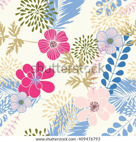 Seamless pattern with blue leaves and pink flowers