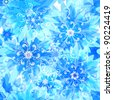 Seamless pattern with blue snow translucent flowers and snowflakes (vector EPS 10)) - stock vector