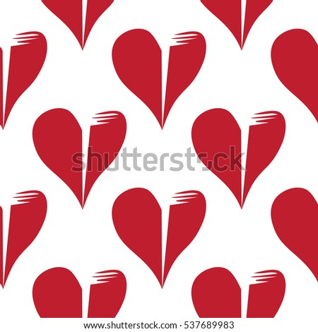 Seamless pattern with broken hearts on white