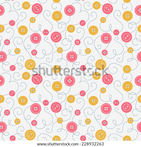 Seamless pattern with buttons and embroidery.