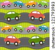 Seamless pattern with cars - stock photo
