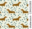 Seamless pattern with cartoon dachshunds, bones, paw prints and bowls. Vector background. - stock vector