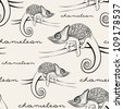 seamless pattern with chameleons - stock photo