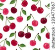 Seamless pattern with cherry. Vector illustration. - stock photo