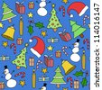 Seamless pattern with Christmas trees, gift icons and symbols. Holiday background doodle. - stock vector