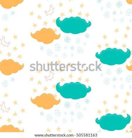 Seamless pattern with clouds, stars and snowflakes. Vector winter background in cartoon.