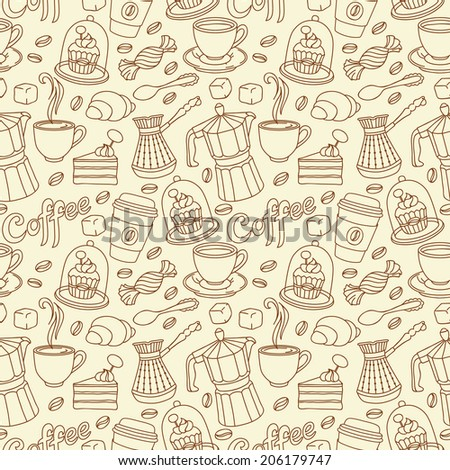 Seamless pattern with coffee and sweet. Coffee background