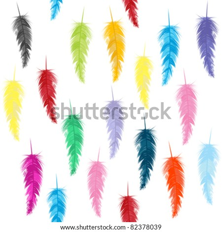 Seamless pattern with colored feathers