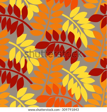 Seamless pattern with colorful autumn leaves. Vector