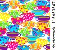 Seamless pattern with colorful cups. - stock vector