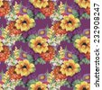 Seamless pattern with colorful flowers on purple background vector illustration - stock vector