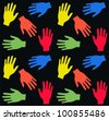 seamless pattern with colorful hands - stock vector
