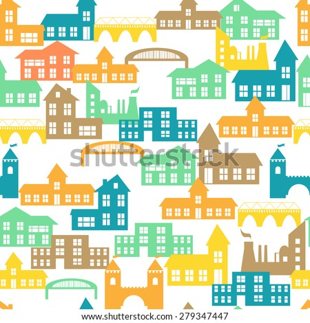 Seamless pattern with colorful houses. Vector illustration
