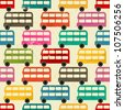 Seamless pattern with colorful London buses. - stock vector