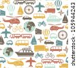 seamless pattern with colorful transport icons - stock photo