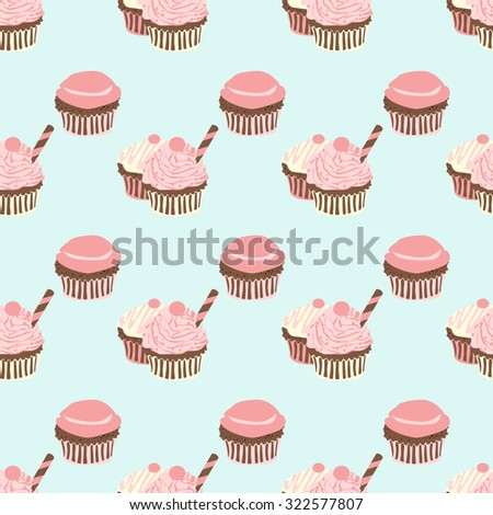 stock vector seamless pattern with cupcakes in pastel colors vector illustration vintage 322577807 - Каталог — Фотообои «Еда, фрукты, для кухни»