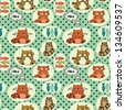 Seamless pattern with cute colorful cartoon cats. Vector background. - stock vector