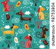 seamless pattern with cute dogs - stock vector
